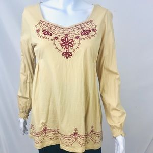 RXB Peasant Tunic Top L Embroidered Long Sleeve